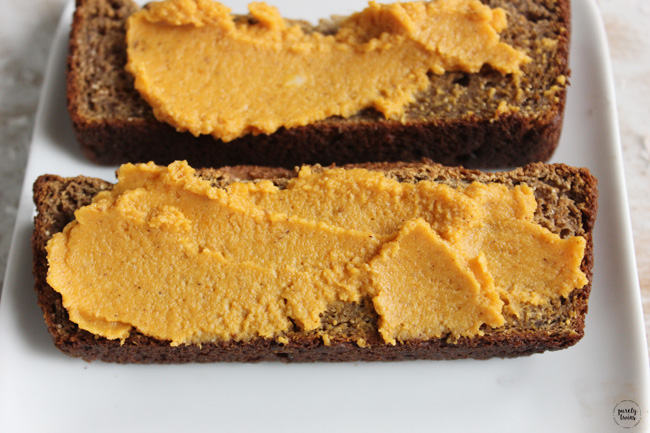 Quick recipe for pumpkin butter. A delicious way to enjoy the fall. Slather it on biscuits, toast, waffles or eat it with a spoon. Made from just 4 ingredients. No refined sugar. Gluten-free, grain-free, vegan and paleo friendly. No more store bought pumpkin butters once you try our version of pumpkin butter made with coconut butter.