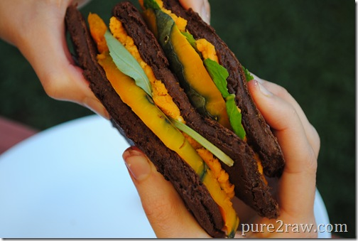 Gluten free vegan chocolate squash socca sandwich.. Enjoy this for a fun lunch.