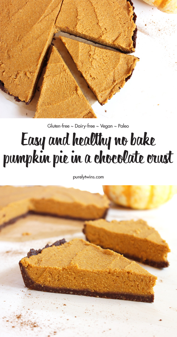 The best NO BAKE pumpkin pie recipe in a raw chocolate crust. No need to turn the oven to make this delicious and easy dessert. A rich chocolate crust with a creamy pumpkin pie filling. Gluten-free. Dairy-free. Paleo and vegan recipe. Low in sugar too.