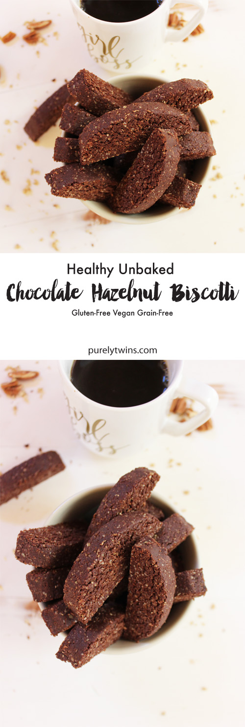 Healthy chocolate hazelnut biscott - think soft cookie but shaped like a biscotti. They are unbaked so SUPER easy and simple to make. They freeze great too. Biscotti cookies made without flour and packed with healthy fats to help burn fat. These are gluten-free, grain-free, and vegan. A little chocolate...hint of spice...soft cookies that only take two bites to devour