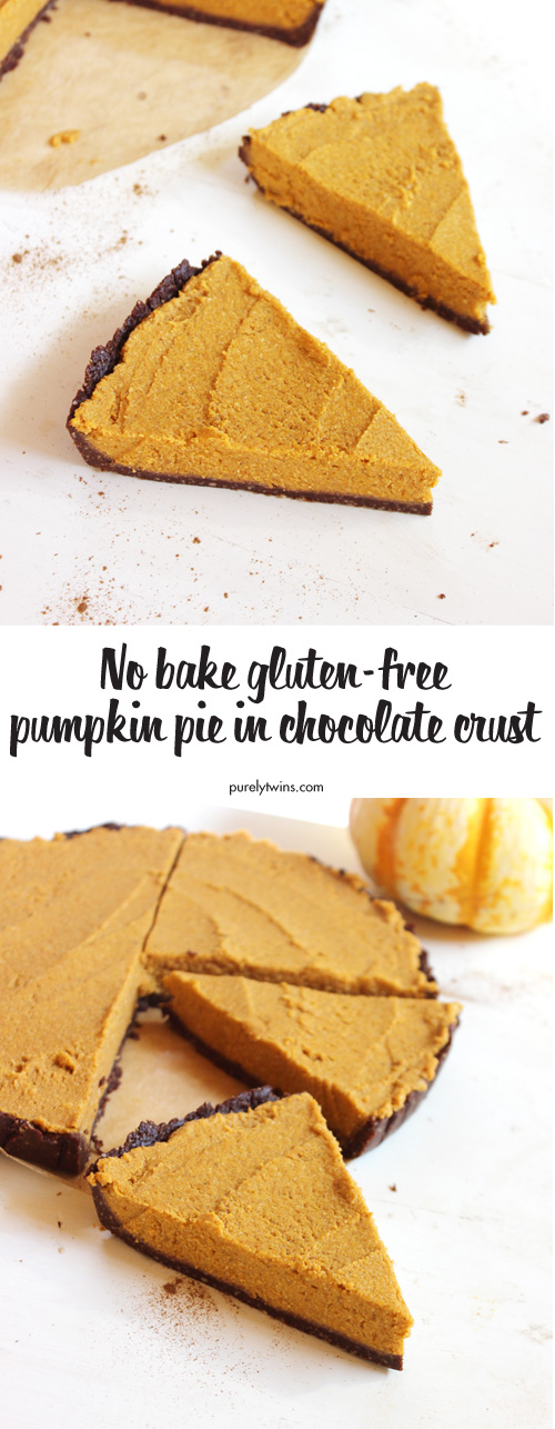 Love pumpkin pie but in a hurry? Try this easy and healthy NO BAKE pumpkin pie recipe in a raw chocolate crust. This pumpkin pie is lighter than a pumpkin cheesecake but still full of flavor. No gluten. No dairy. No refined sugar. Paleo and vegan friendly. A fun way to enjoy pumpkin pie this holiday season with your family.