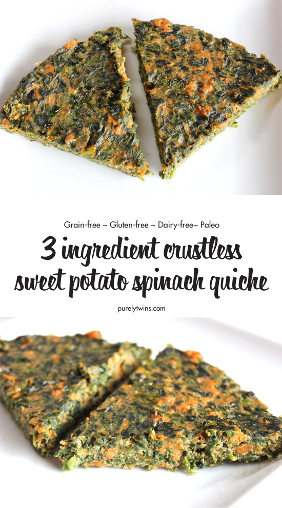 Crustless spinach sweet potato quiche recipe. A quick meal made in 30 minutes and only 3 ingredients. Low carb paleo quiche recipe. You won't miss the crust and cheese. This crustless gluten-free quiche is still delicious.
