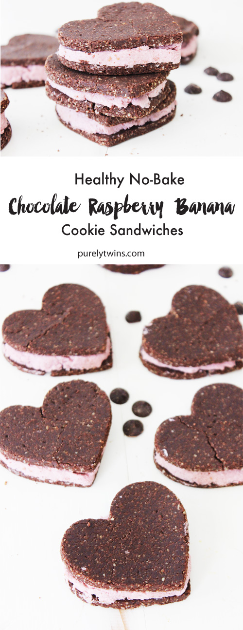 Perfectly sweet low sugar chocolate cookie sandwiches. Filled with creamy banana raspberry cream and made with love. Make cookies in heart shaped so make the perfect dessert for Valentine's Day! Chocolate banana raspberry filled cookie sandwiches that are raw, vegan, gluten-free and grain-free. A gloriously rich chocolate dessert that's actually good for you!