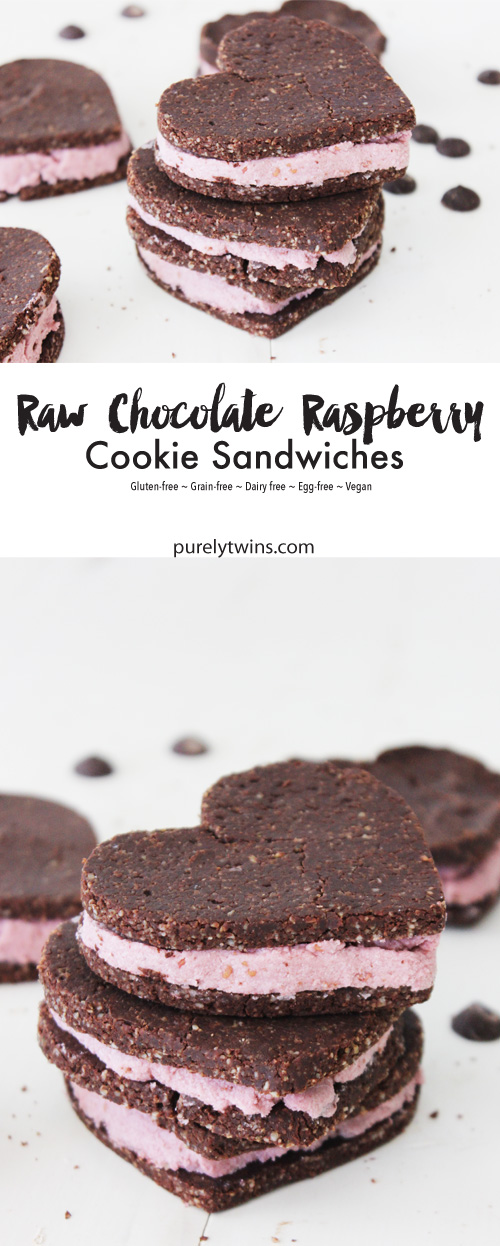 Amazing 10 Ingredient Low Sugar Chocolate Banana Raspberry Cookie Sandwiches (Raw, Vegan & Gluten-free). All you need is nuts/seeds, cocoa powder, mesquite, stevia, vanilla, banana, raspberry, coconut oil and sea salt to make these deliciously elegant cookie sandwich recipe. Perfect for Valentine's Day or to brighten up an ordinary day. This easy heart shaped cookie sandwiches come together in minutes and secretly healthy for you too!