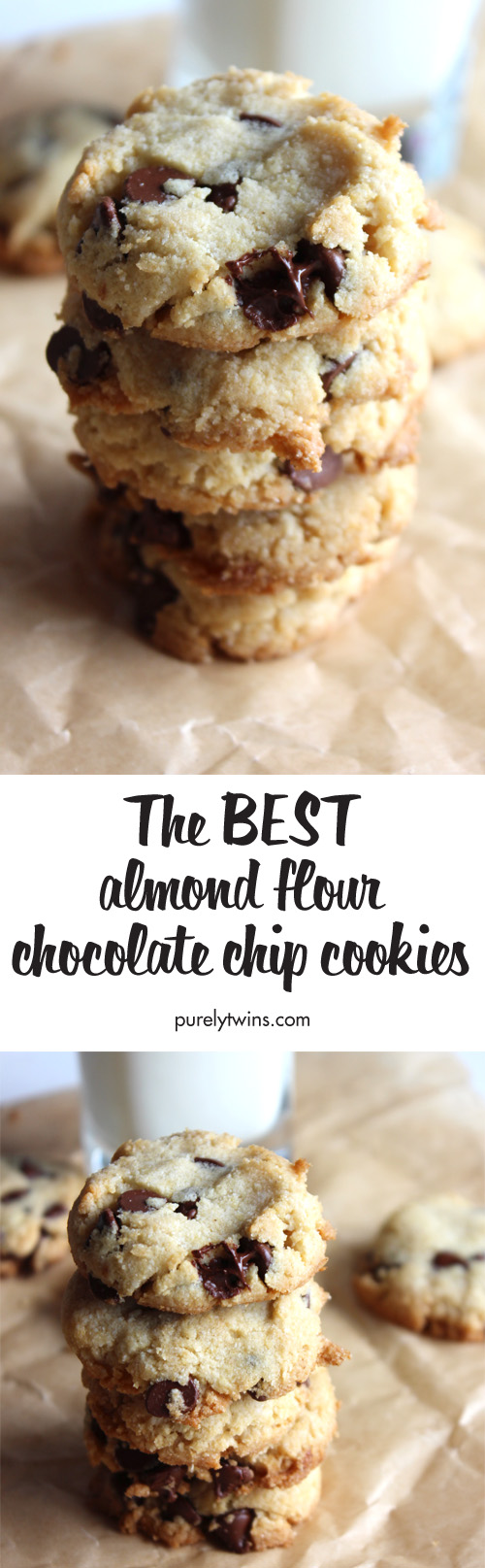 The BEST almond and coconut flour chocolate chip cookies. Super easy to make and taste incredible. Soft and chewy gluten-free grain-free chocolate chip cookie recipe your whole family will love.