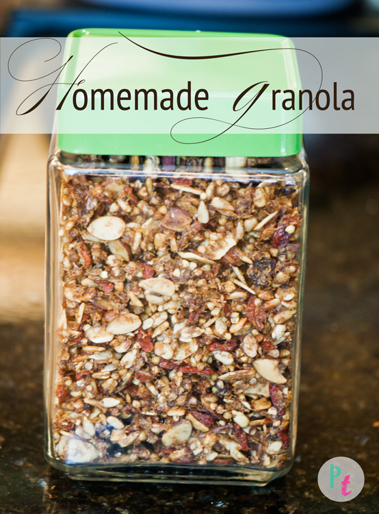 raw gluten free granola recipe made with coconut oil via purelytwins