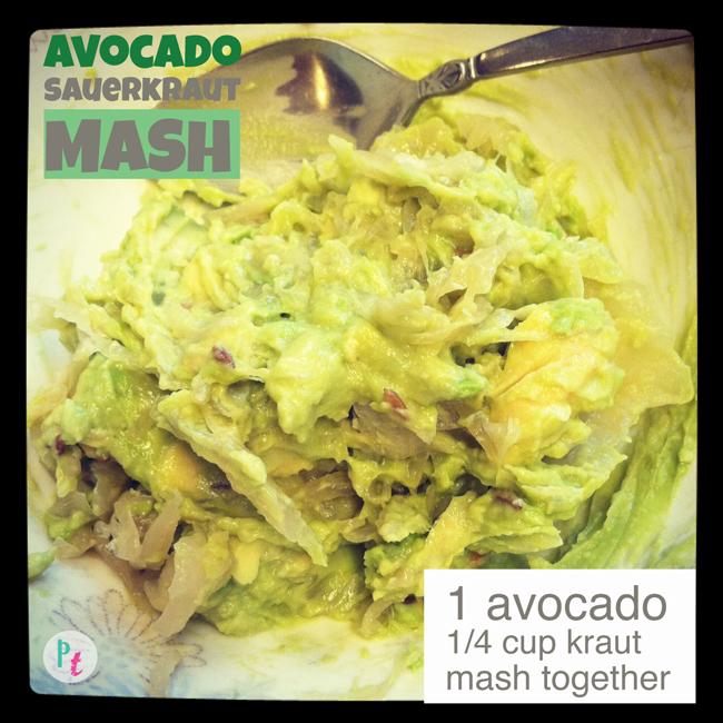 Avocado sauerkraut mash