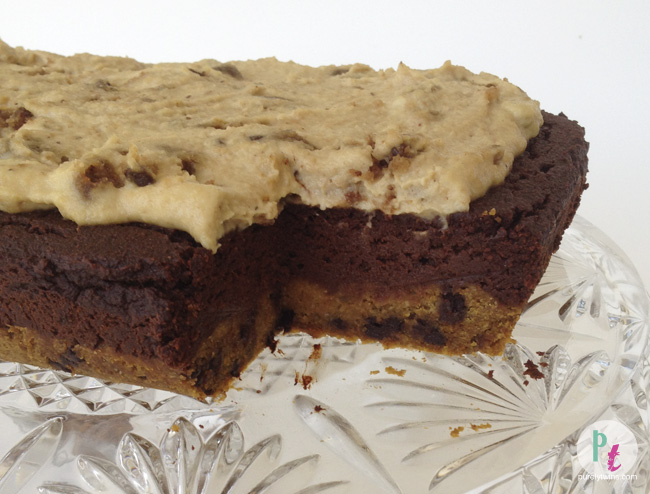 Gluten-free egg-free dairy-free layered brownie chocolate chip cookie cake with a raw cookie dough frosting