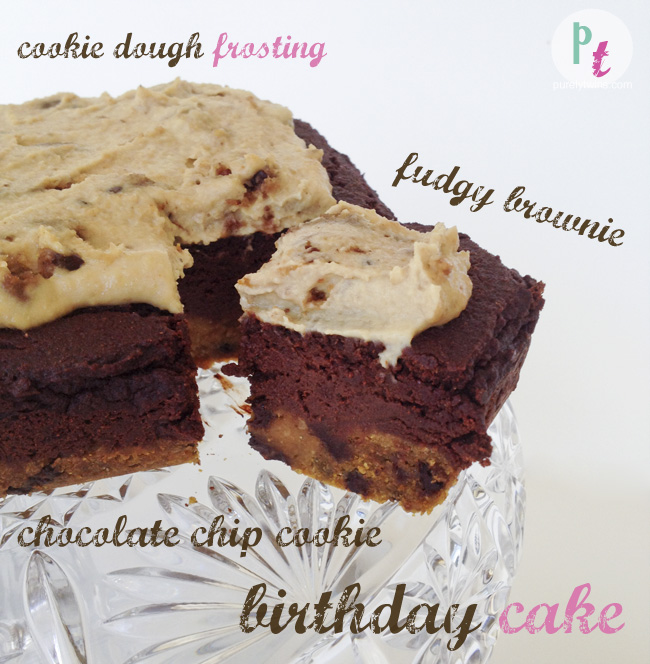 Brownie Cookie Dough Cake (vegan)
