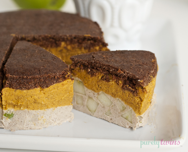 pumpkin apple pie layered cake with pumpkin whipped cream