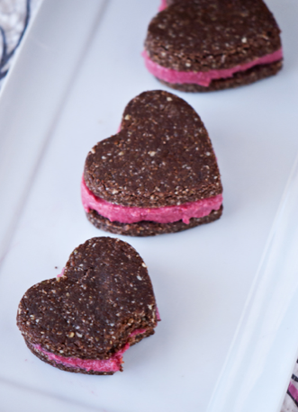 raw pink cookie sandwiches