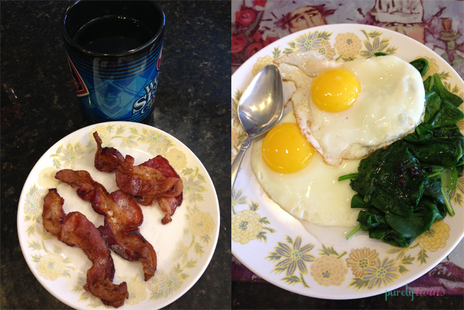 bacon egg spinach breakfast