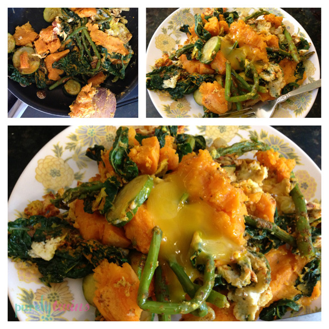 egg sweet potato kale