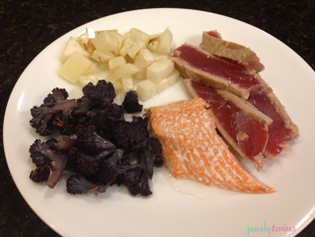 Dinner – purple cauliflower, turnips, salmon, and tuna (fish was ...