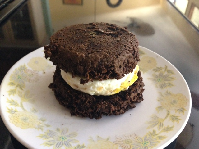 chocolate hemp english muffin egg sandwich