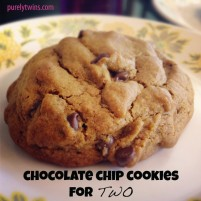 warm chocolate chip cookies (serves 2)
