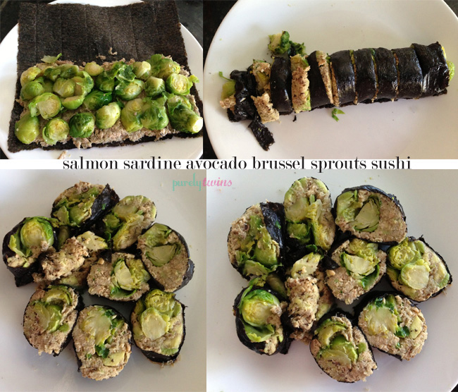 salmon sardine brussel sprout avocado sushi wrap