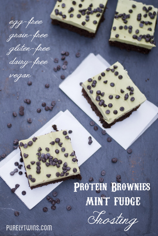 Recipe for gluten-free, grain-free, vegan mint chocolate chip protein fudge brownies. This recipe for protein fudge brownies is super easy to make! topped with a rich and creamy  avocado frosting!