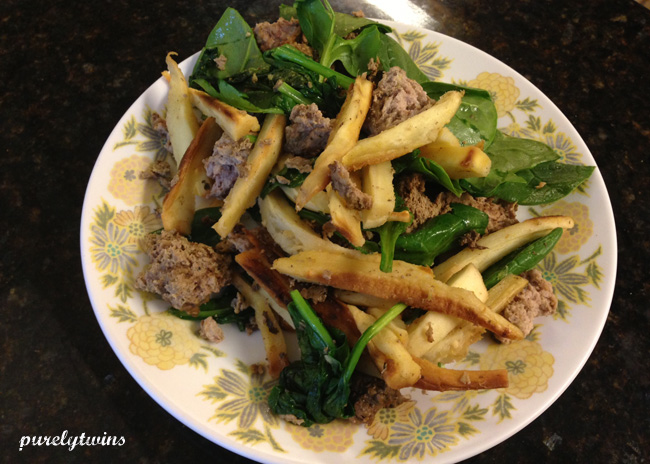 beef liver meatballs with parsnips spinach