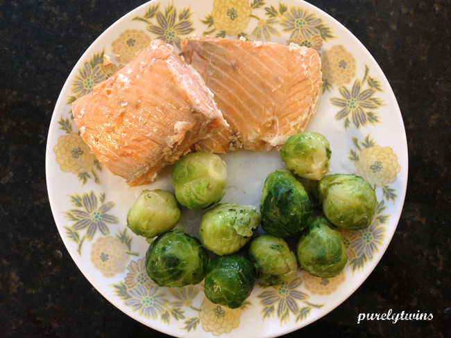 salmon brussel sprouts coconut oil