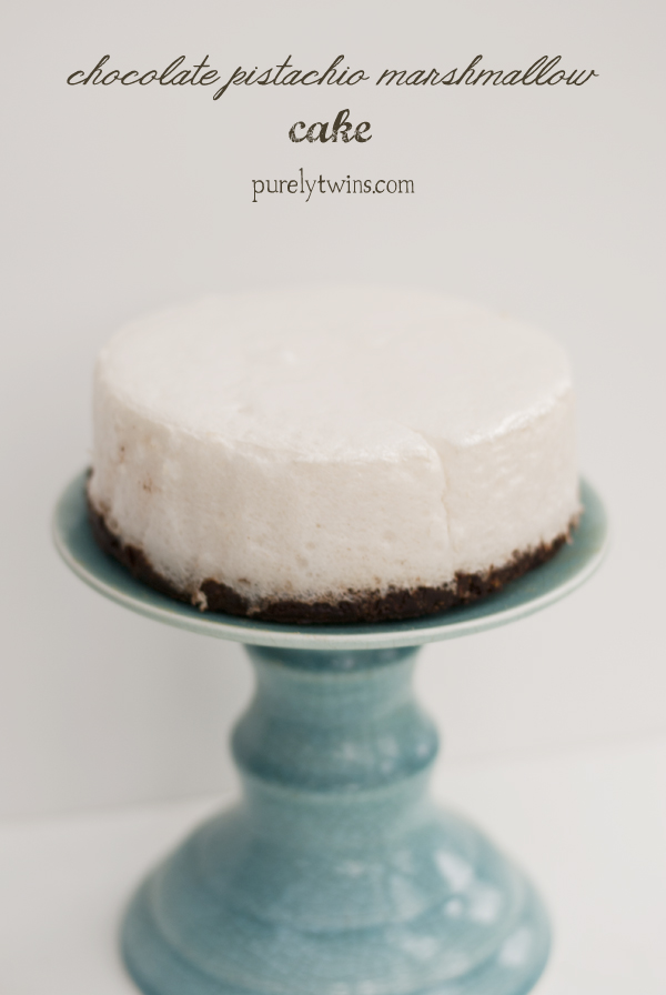 chocolate pistachio marshmallow low sugar cake via purelytwins