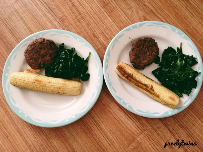 beef burgers plantains spinach
