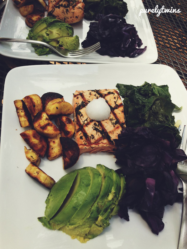 grain free balanced lunch avocado salmon greens cabbage plantains and coconut oil