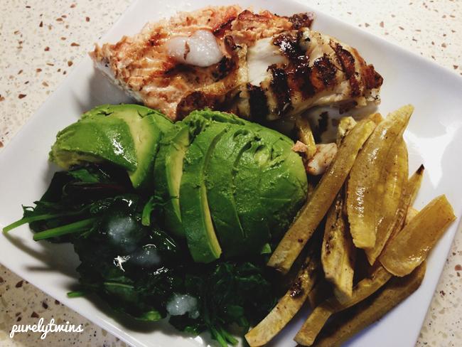 fish plantains avocado dinner