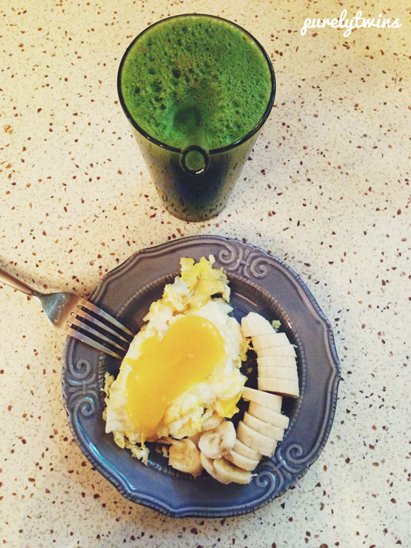 green juice with eggs coconut oil