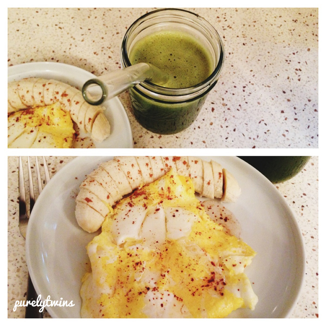 juice eggs bananas