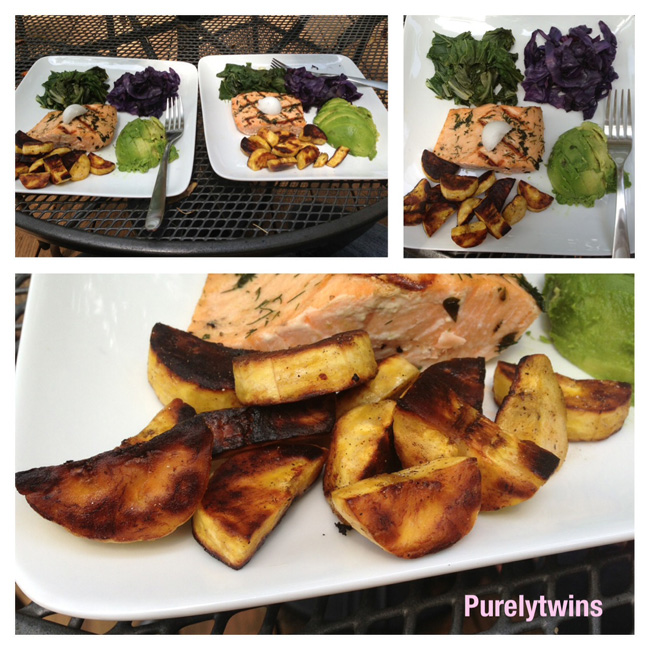 salmon cabbage plantain lunch #paleo