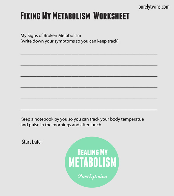 metabolism work sheet