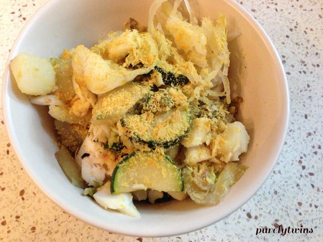 potatos cod veggies
