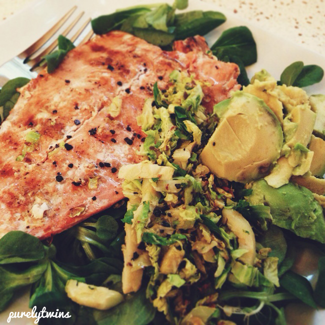 salmon avocado brussel sprouts
