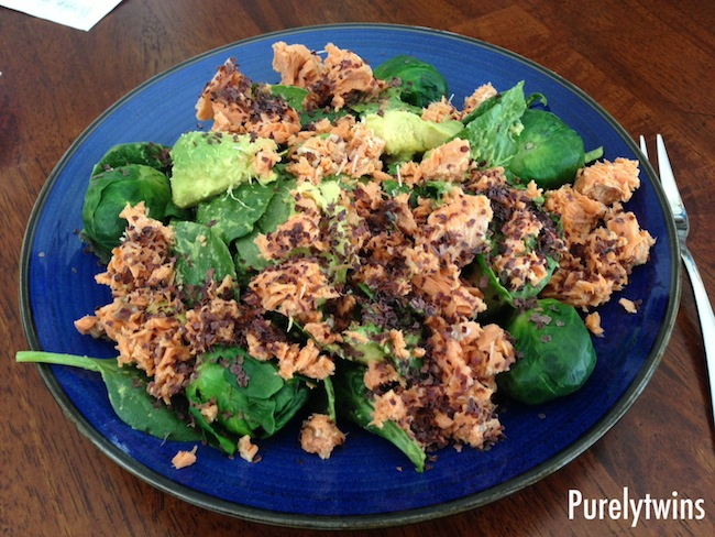 salmon avocado spinach salad