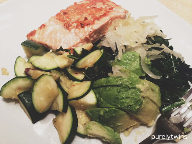 salmon avocado zucchini dinner