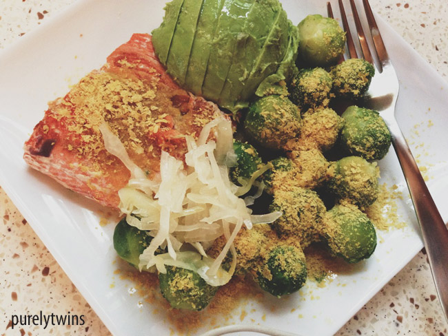 salmon brussel lunch