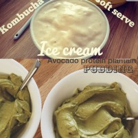 kombucha soft serve ice cream + avocado protein plantain pudding