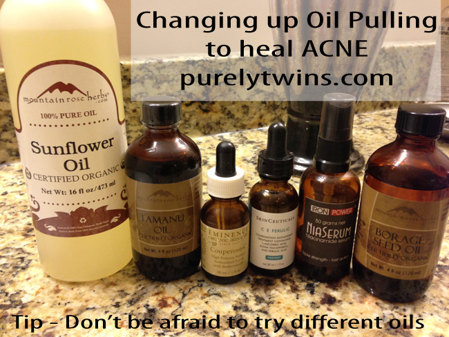 using different oils to oil pull for acne