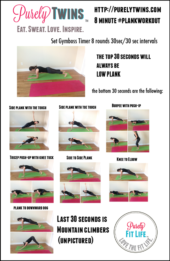 8 minute plank workout that will work the abs and full body purelytwins. Plus a collection of other amazing plank workouts you can do at home. These workouts are perfect to do the days you don't feel like working out or you only have 5 minutes.