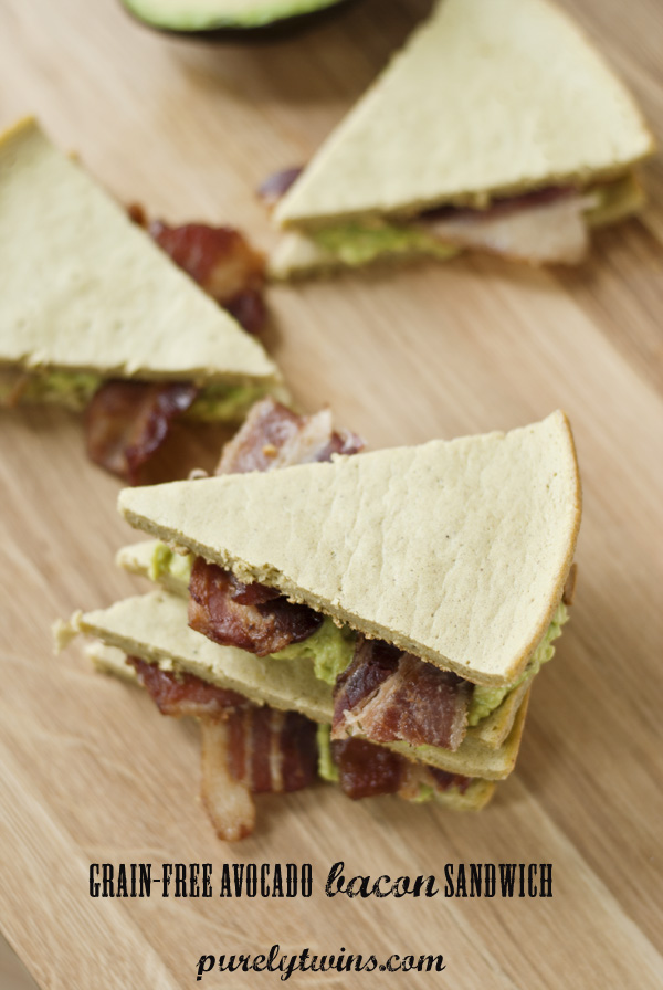 OMG bacon avocado grain-free sandwich. This sandwich is bread is based from gluten-free plantain bread filled with bacon and avocado making a delicious lunch or dinner.