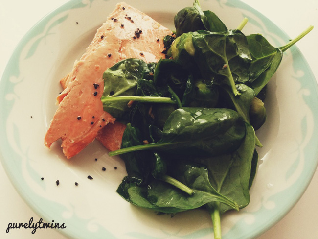 baked salmon with greens for dinner