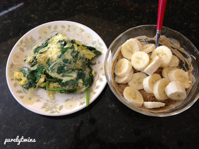 egg spinach banana protein lunch