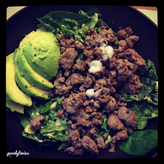 grass fed beef avocado for dinner