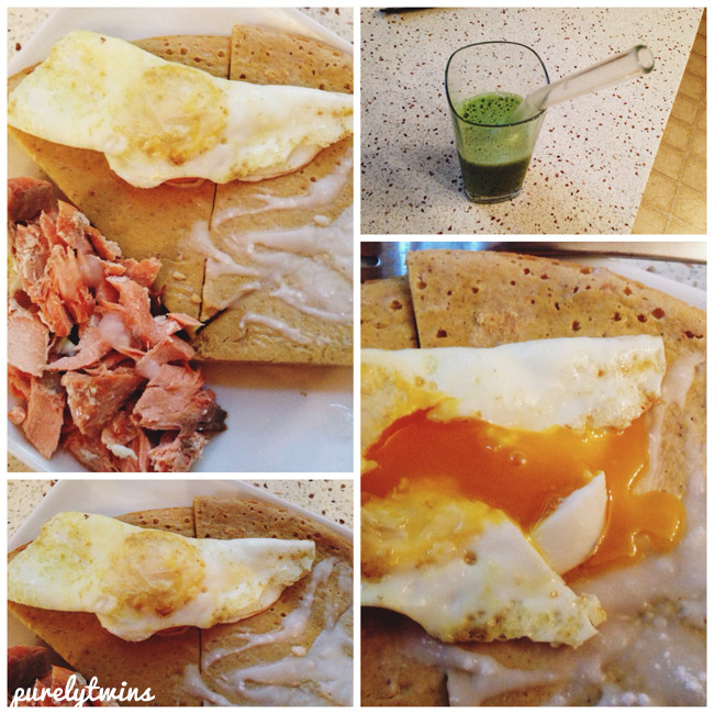juice eggs salmon breakfast