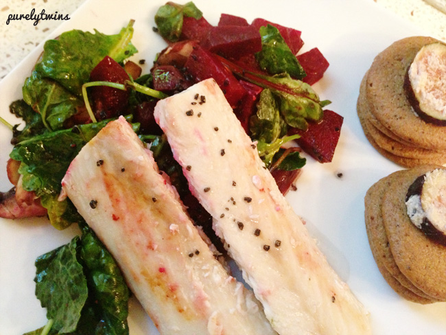 mahi dinner with beets