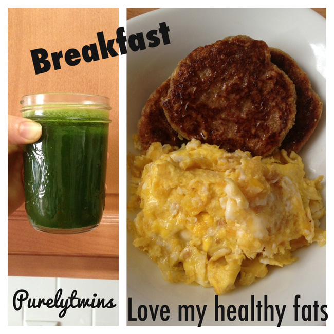 green juice and breakfast pancakes and eggs
