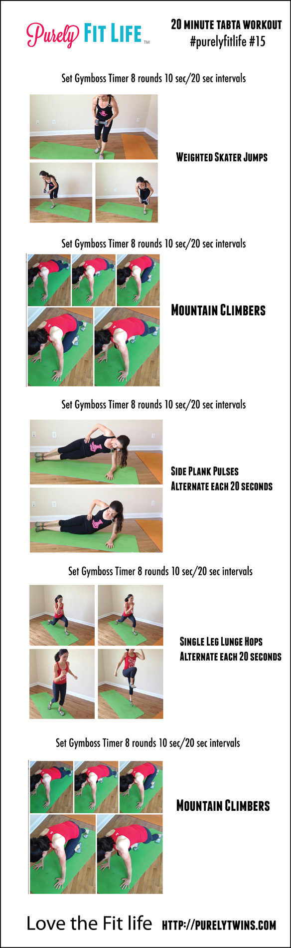 Do you need a quick, effective workout you can do from home? Try this 20 Minute Tabata Workout to get fit from just about anywhere. Beats an hour on the treadmill. Home workout for women to get in shape at home!
