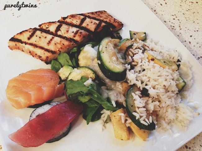 salmon rice sushi