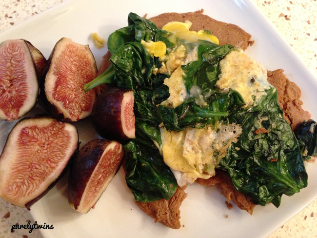 sundays breakfast figs spinach duck egg pancake